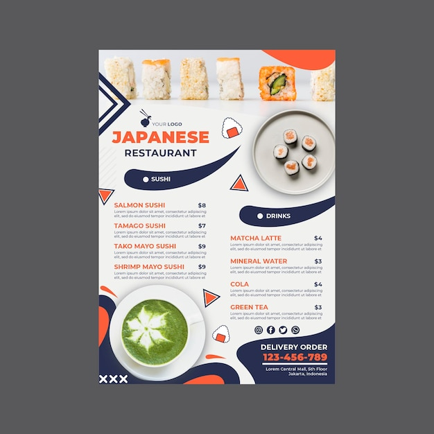 日本食レストランメニュー印刷テンプレート 無料ベクター