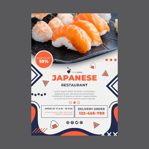 Japanese restaurant poster print template Free Vector