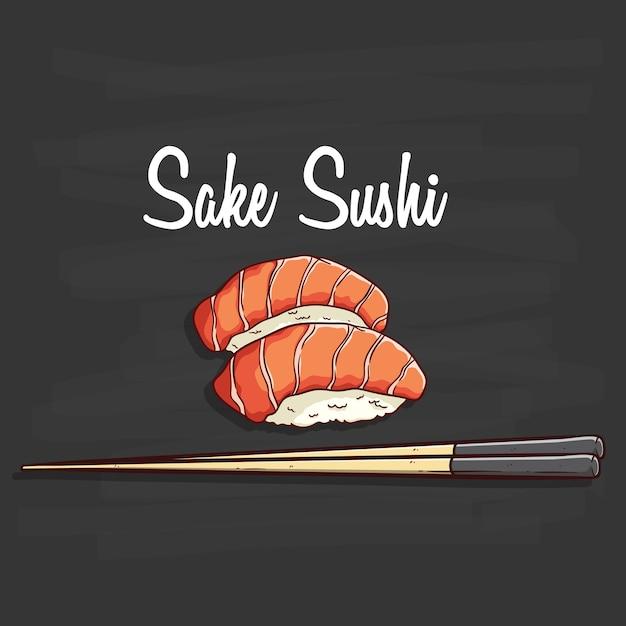 Japanese sake sushi illustration Premium Vector