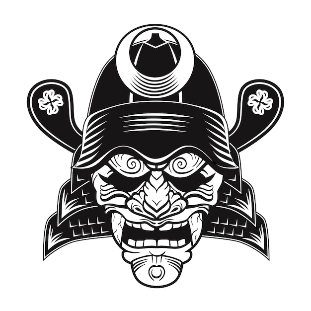 Japanese samurai black mask flat image. japan traditional vintage warrior or fighter clipart isolated vector illustration Free Vector