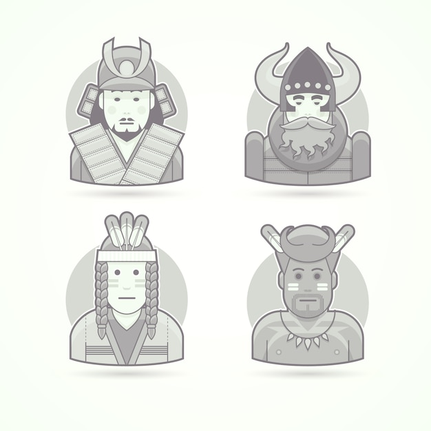 日本の武士、バイキング、赤いインド人、アフリカの先住民アボリゲン。キャラクター、アバター、人のイラストのセットです。黒と白のアウトラインスタイル。 Premiumベクター