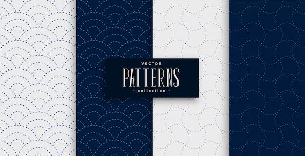 Japanese sashiko pattern set in gray and indigo colors Free Vector