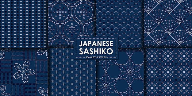 Japanese sashiko seamless pattern collection Premium Vector