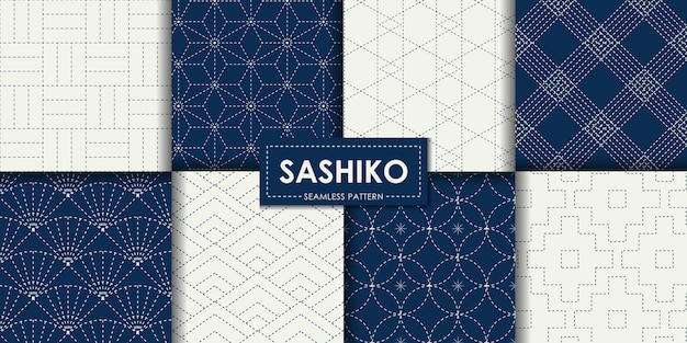 Japanese sashiko seamless pattern vector collection Premium Vector