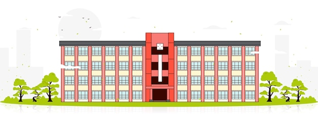 Japanese school surrounded by trees Free Vector