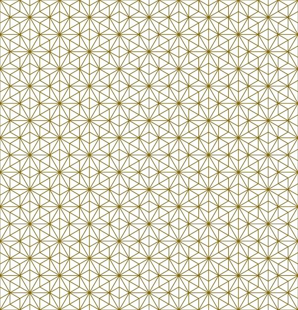 갈색 미세 라인에 일본 원활한 Kumiko 패턴. 프리미엄 벡터