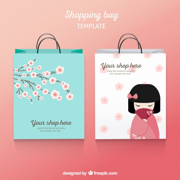 Japanese shopping bag template Vector | Free Download