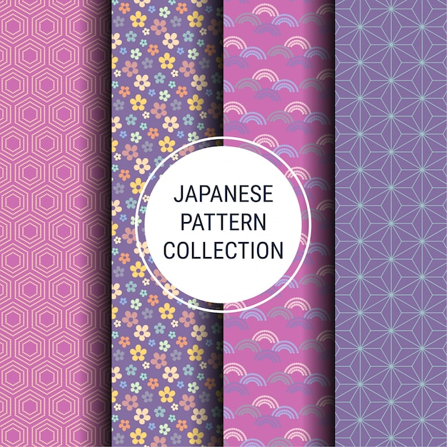 Japanese spring pattern collection Premium Vector