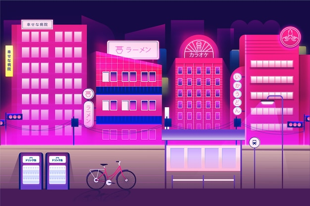 Japanese street in neon colours Free Vector