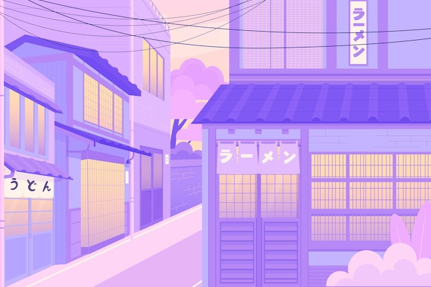 Japanese street in pastel colours Free Vector