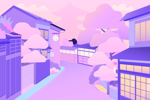 Japanese street with houses and trees Free Vector
