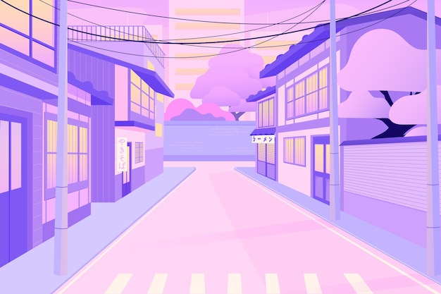 Japanese streets with modern houses Free Vector