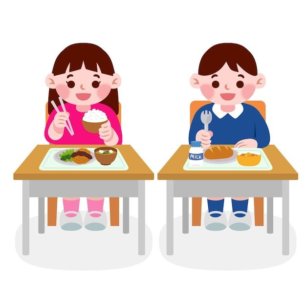 Японский студент ест в классе Бесплатные векторы