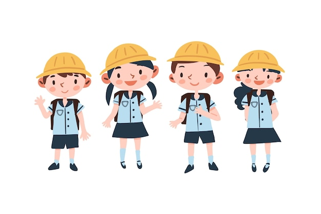 Japanese students wearing uniforms Free Vector