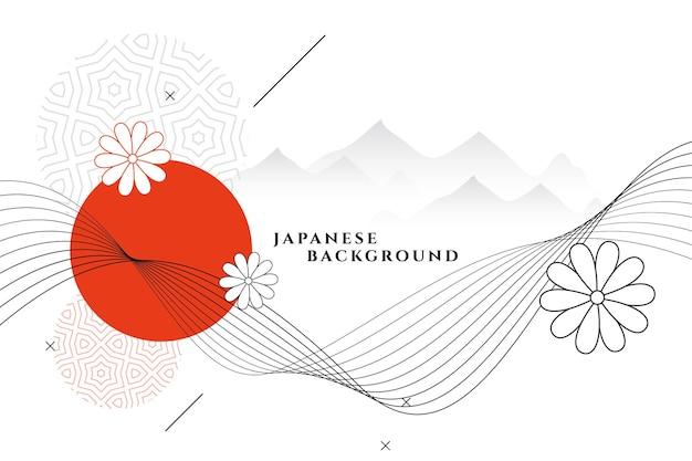 Декоративный фон в японском стиле с цветком и горами Бесплатные векторы