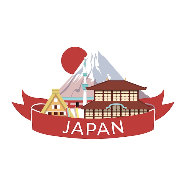 Japanese style objects, accessories  places interest banner. traditional japan. Premium Vector