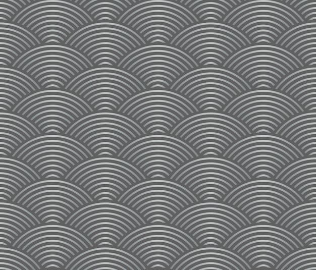일본식 복고풍 빈티지 원활한 패턴 그레이 스케일 웨이브 라인 프리미엄 벡터