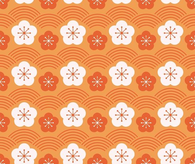 일본식 복고풍 빈티지 원활한 패턴 매화 꽃과 물결 라인 프리미엄 벡터