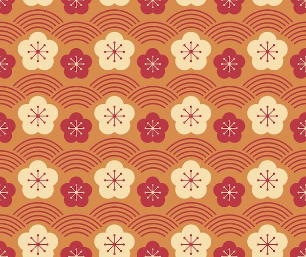 일본식 복고풍 빈티지 원활한 패턴 매화 꽃과 웨이브 스케일 라인 프리미엄 벡터
