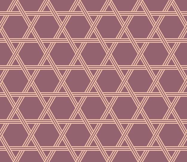 일본식 복고풍 빈티지 원활한 패턴 다각형 스타 라인 프리미엄 벡터