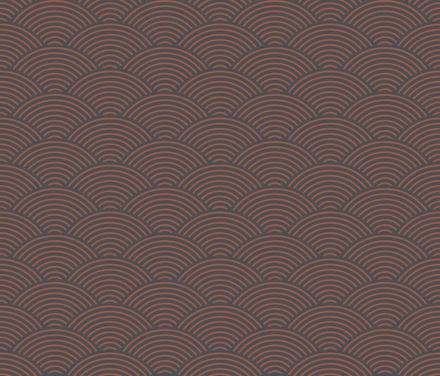 일본식 복고풍 빈티지 원활한 패턴 웨이브 라인 프리미엄 벡터