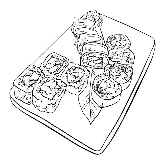 日本の寿司とロールセット、サービングプレート。 Premiumベクター