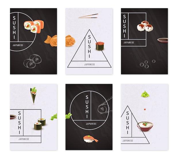 Japanese sushi banner set Premium Vector