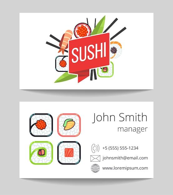 Japanese sushi bar business card both sides v Premium Vector