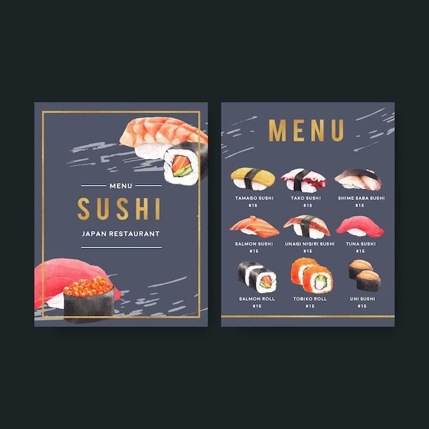 レストランのメニューのための日本の寿司コレクション。 無料ベクター