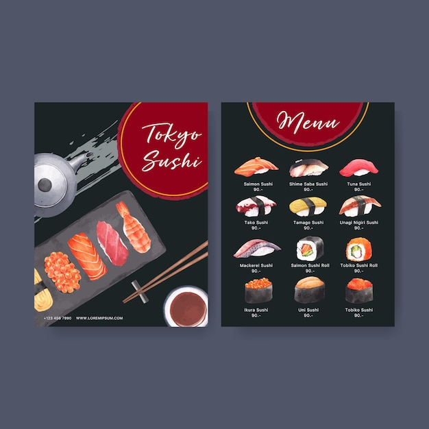 Japanese sushi collection for restaurant menu. Free Vector