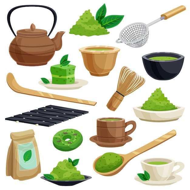 Japanese tea ceremony elements set Free Vector