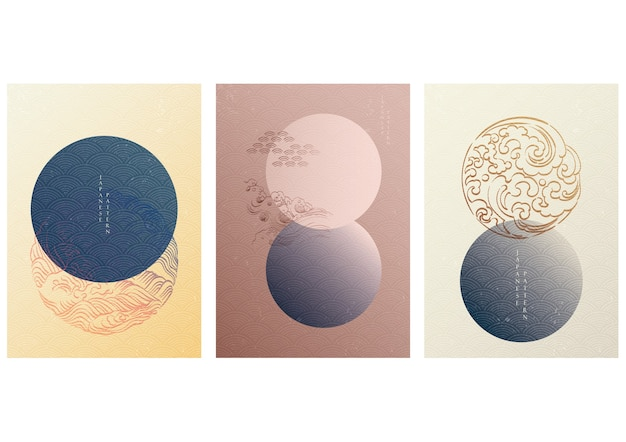 Japanese template with geometric pattern . circle background with hand draw wave elements in vintage style. Premium Vector