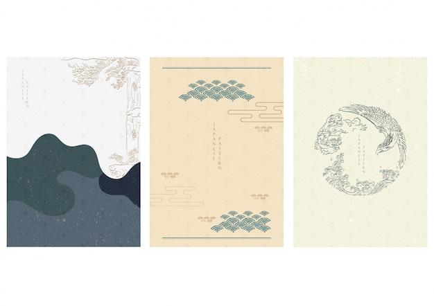 손으로 일본 템플릿 아시아 전통 요소를 그려. 파, 나무, 사자와 독수리. 프리미엄 벡터