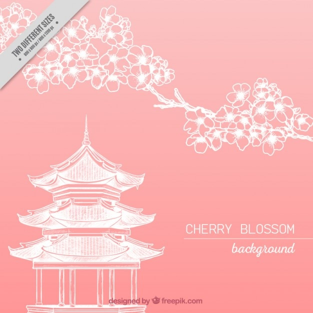 Japanese temple with cherry blossom\ background