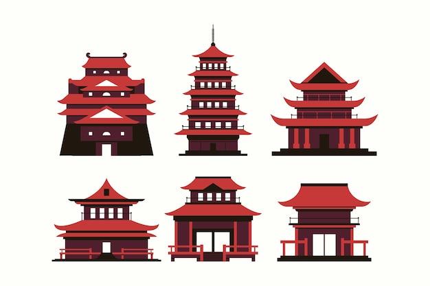 Templi giapponesi in design piatto Vettore gratuito
