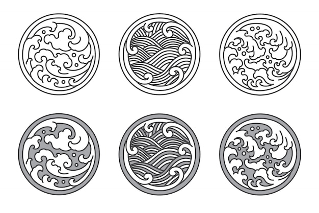 Japanese and thai and chinese water wave line set. Premium Vector