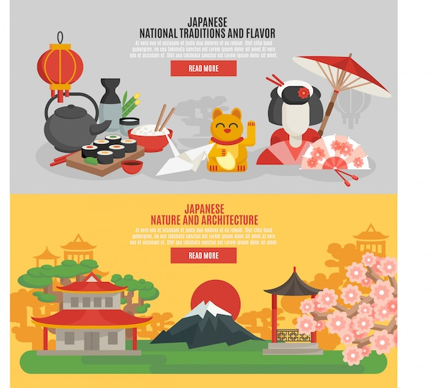 Japanese tradition flat banner set Free Vector