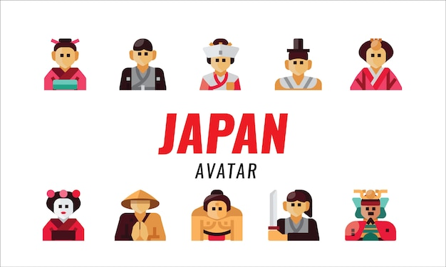 Japanese traditional character. flat design elements. vector illustration Premium Vector