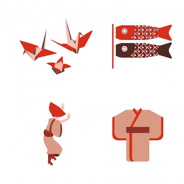 Japanese traditional origami and dancer wear kimono vector Premium Vector