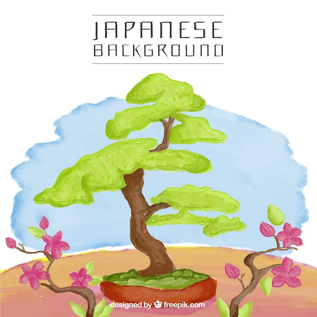 Japanese tree watercolor background Free Vector
