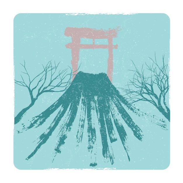Japanese volkano, pagoda Premium Vector