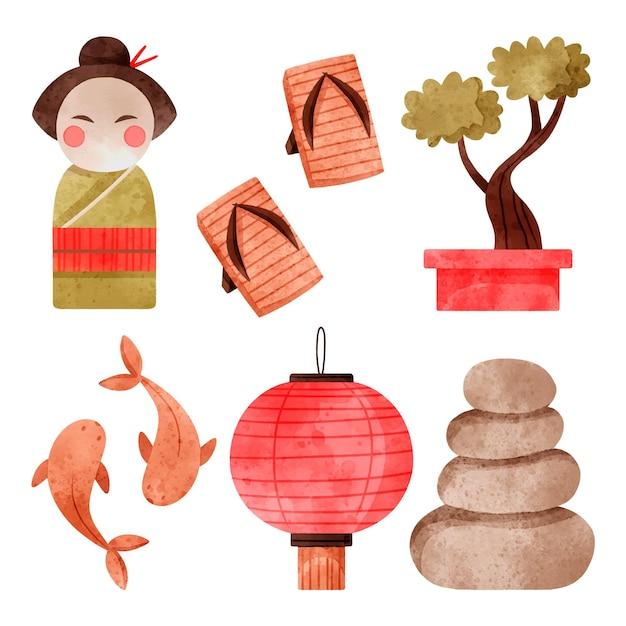 Raccolta di elementi dell'acquerello giapponese Vettore gratuito
