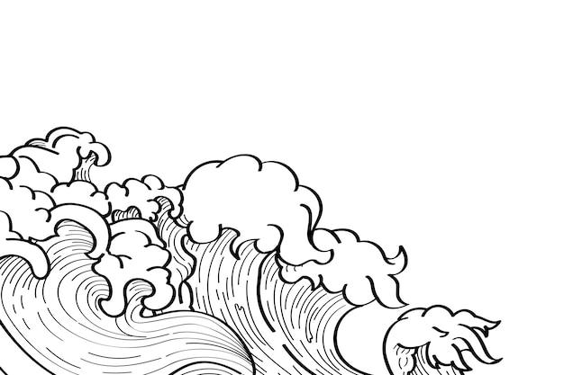 Doodle di onda giapponese Vettore gratuito