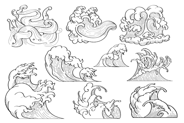 Japanese wave doodle Free Vector