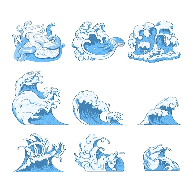 Japanese wave doodles Free Vector