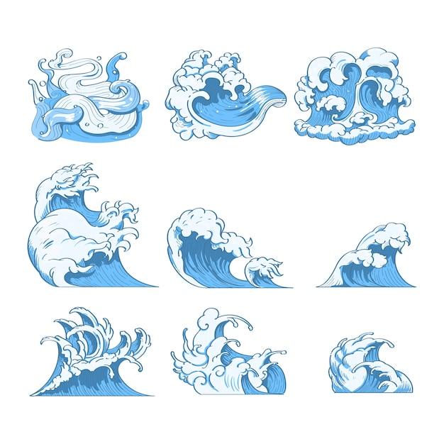 Doodles d'onda giapponesi Vettore gratuito