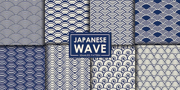 Japanese wave seamless pattern collection. Premium Vector