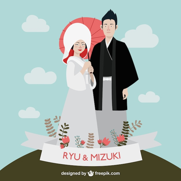 Japanese Wedding Couple Vector Free Download
