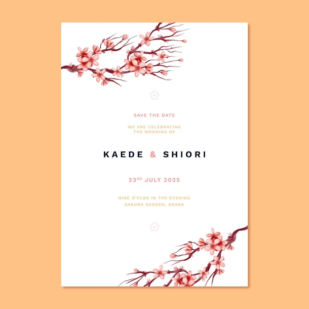 Japanese wedding invitation and flowers Free Vector