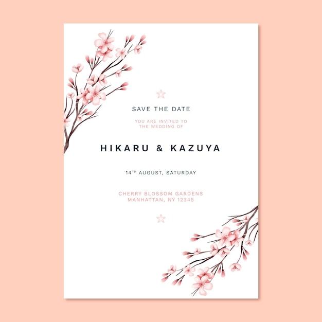 Modello di stampa invito matrimonio giapponese Vettore gratuito